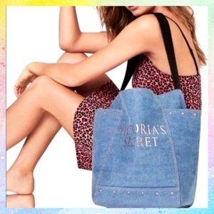 Victoria's Secret Logo Denim Tote Bag